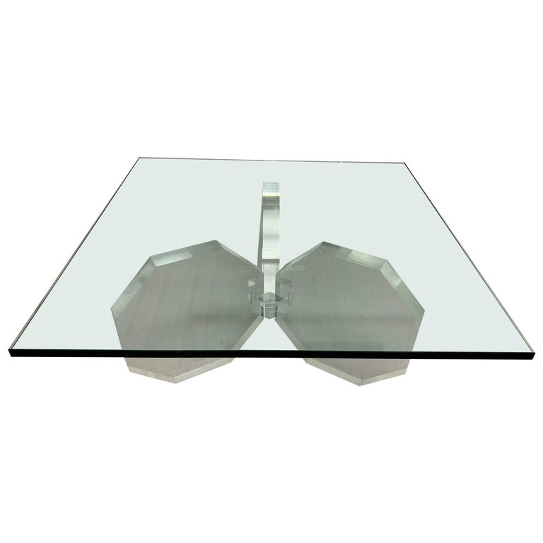 Hexagonal Thick Lucite Base Coffee Table For Sale