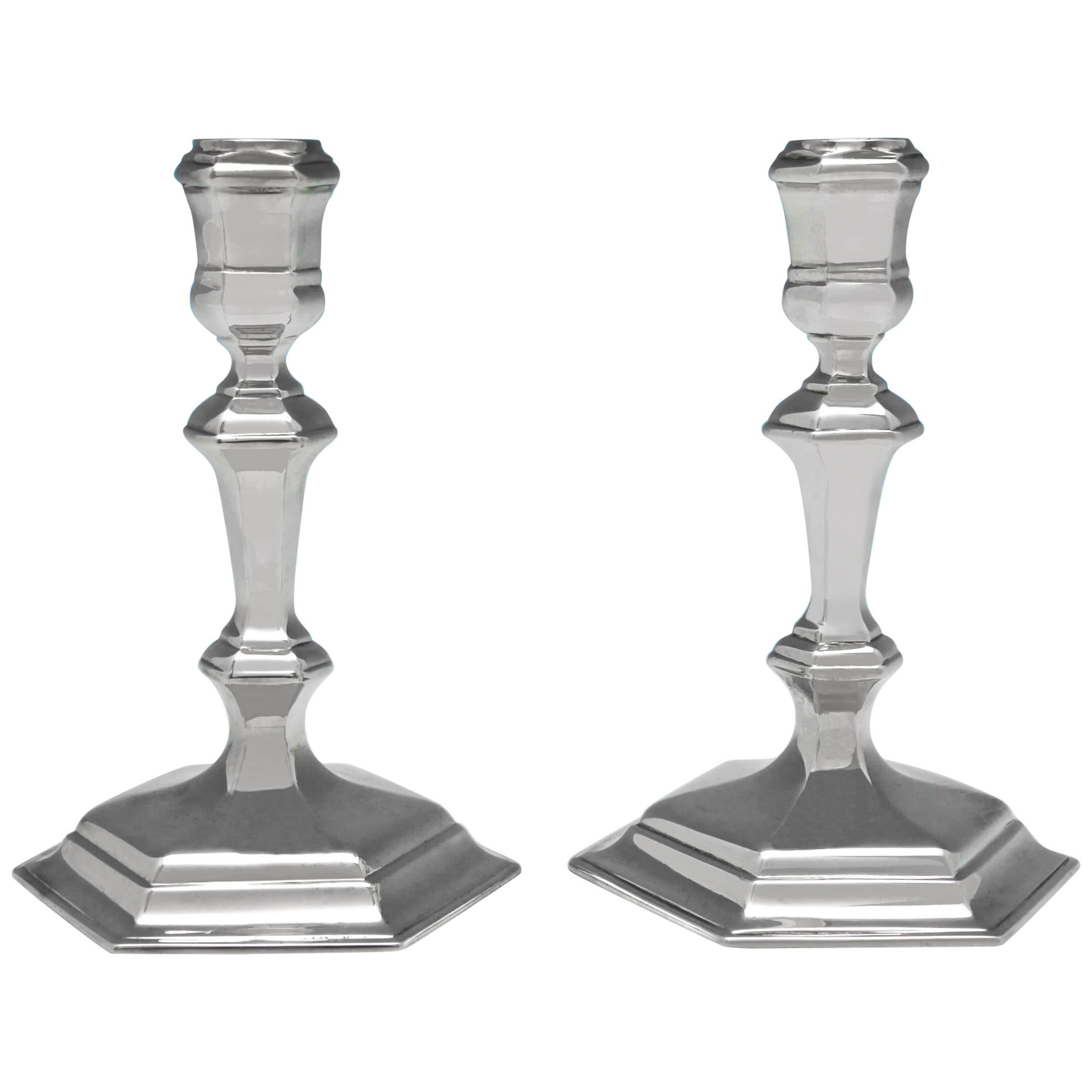 Hexagonal Victorian Antique Sterling Silver Pair of Cast Candlesticks from 1883