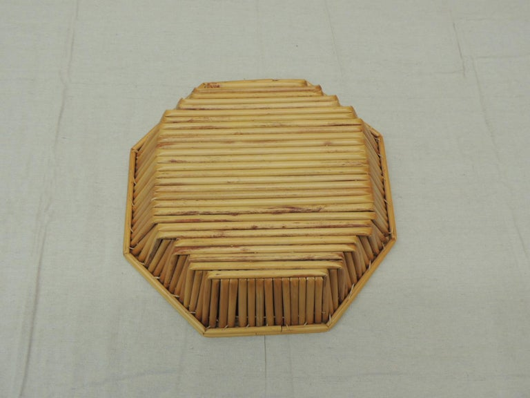 Hand-Crafted Hexagonal Vintage Bamboo Fruit Bowl or Serving Basket For Sale