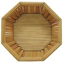 Hexagonal Vintage Bamboo Fruit Bowl or Serving Basket