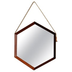 Hexagonal Vintage Wall Mirror with Teak Sections & Natural String Hanging Strap