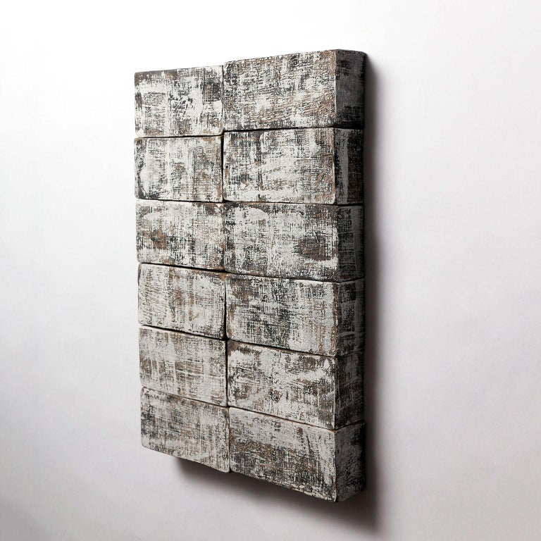 Modern 'Hexagram 2' Ceramic Wall Hanging in Textured Black and White Finish For Sale