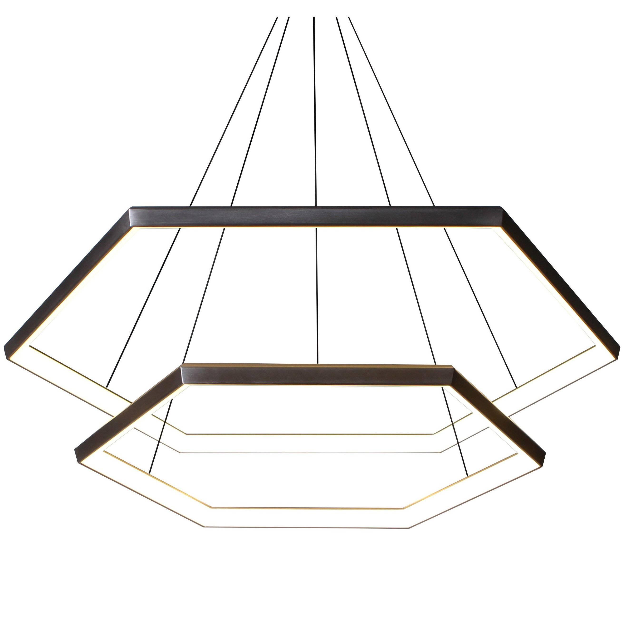 HEXIA CASCADE HXC46 - Black Hexagon Modern LED Chandelier Light Fixture