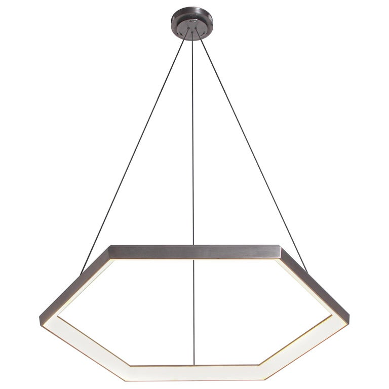 HEXIA HX34, Black Hexagon Geometric Modern LED Chandelier Light Fixture For Sale