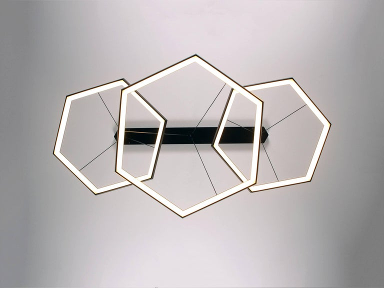 American HEXIA TRIO HXT34 - Black Hexagon Geometric Modern LED Chandelier Light Fixture For Sale