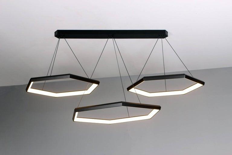 Welded HEXIA TRIO HXT34 - Black Hexagon Geometric Modern LED Chandelier Light Fixture For Sale