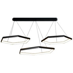 HEXIA TRIO HXT34 - Black Hexagon Geometric Modern LED Chandelier Light Fixture