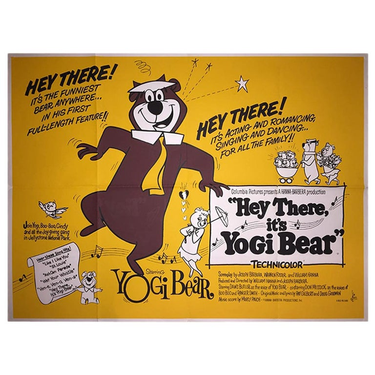 """""""Hey There, It's Yogi Bear"""" '1964' Poster For Sale"""