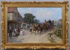19th Century coaching scene oil painting