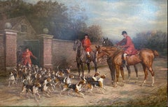 'Ready for the Hunt' English Country Hunting scene with horses, hounds & figures