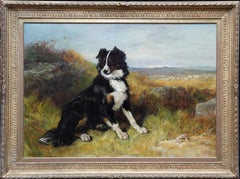 Sheepdog in a Landscape - British Victorian 1873 dog art landscape oil painting