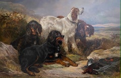 'The Pack' Setter Dogs in a green British landscape, game bird sporting scene