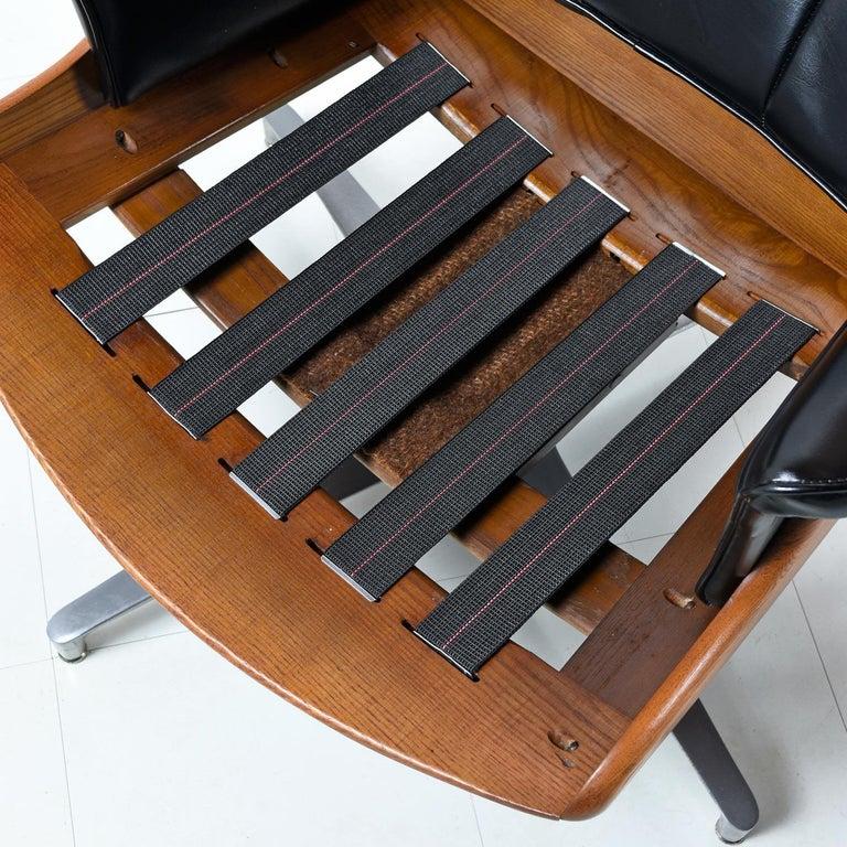Aluminum Heywood Wakefield 710D Black Naugahyde Swivel Rocker Lounge Chair and Ottoman For Sale