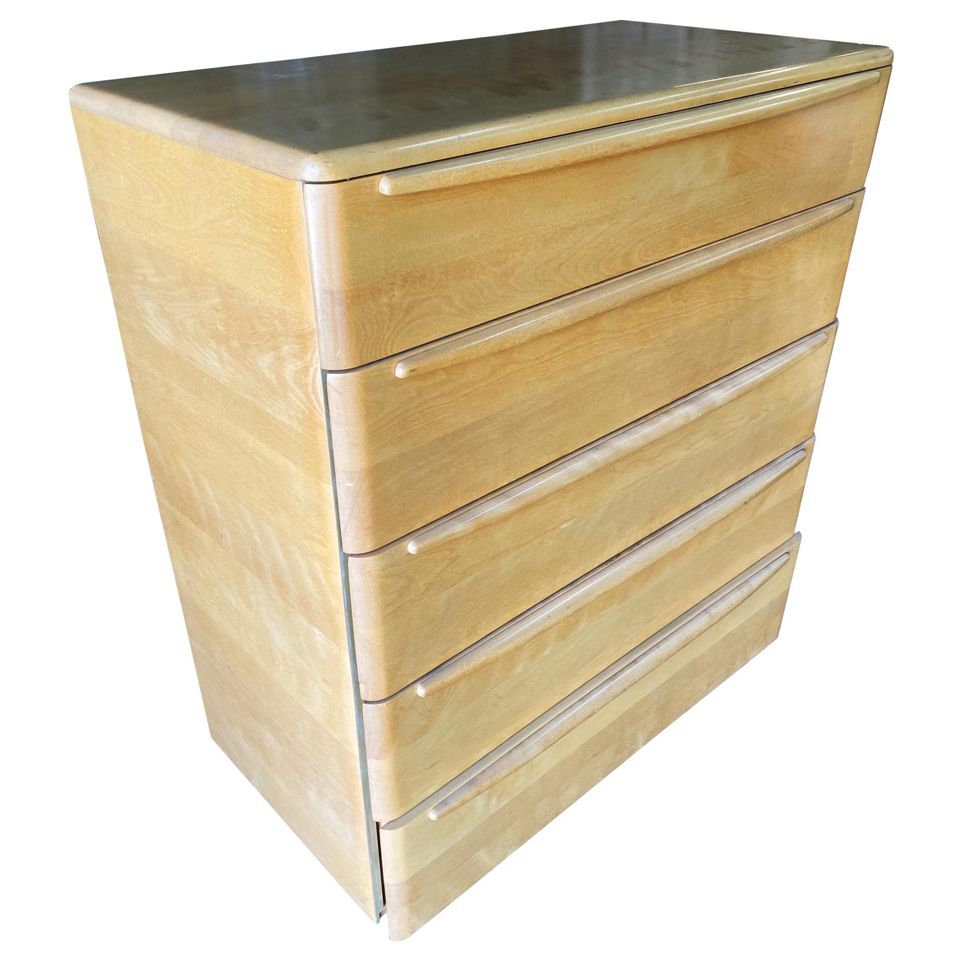 Heywood Wakefield Blonde Streamline Maple Highboy Dresser