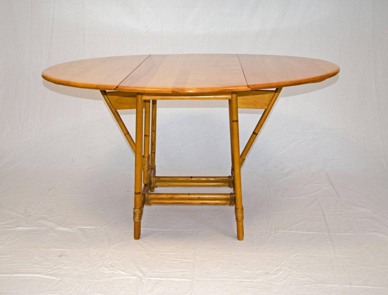 New Heywood Wakefield Drop Leaf Round Table Ashcraft Line For Sale at  IA77