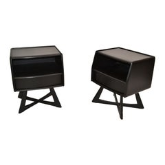 Heywood Wakefield Ebonized Night Stand, Bedside Tables Mid-Century Modern, Pair