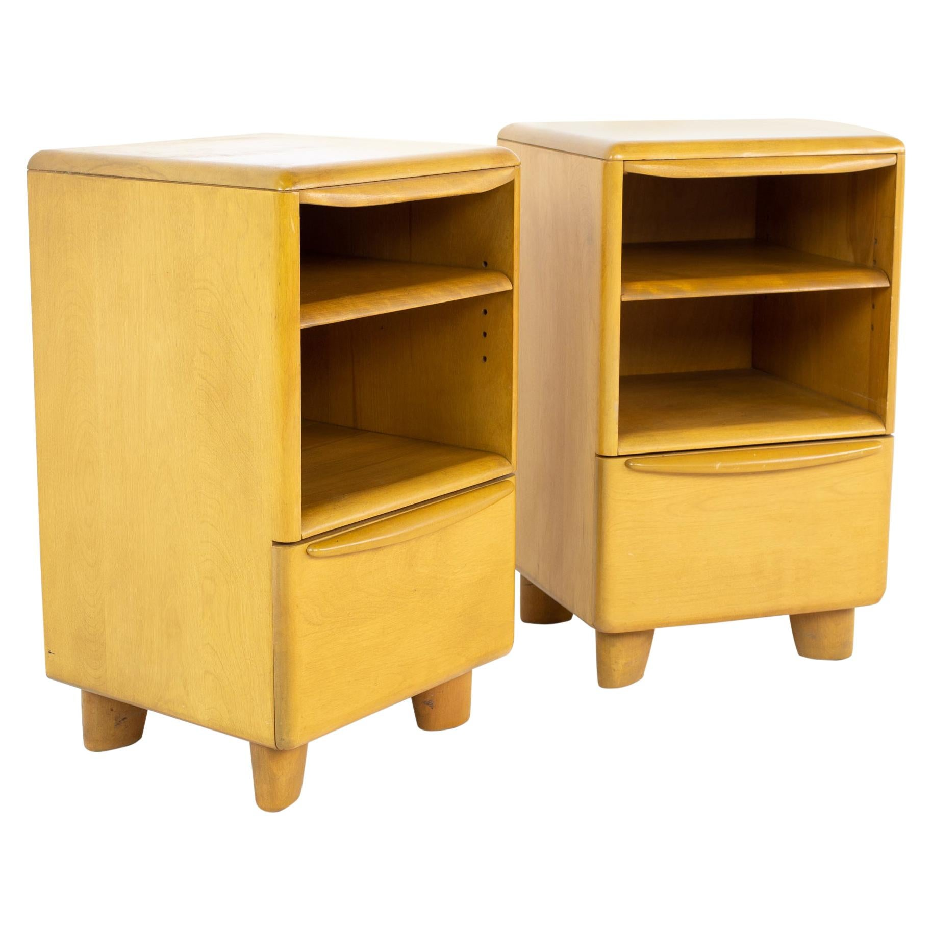 Heywood Wakefield Encore Mid Century Blonde Wheat Nightstands, a Pair
