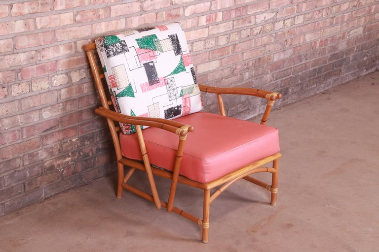 Heywood Wakefield Ashcraft Hollywood Regency Bamboo Form Lounge Chair, 1950s In Good Condition For Sale In South Bend, IN