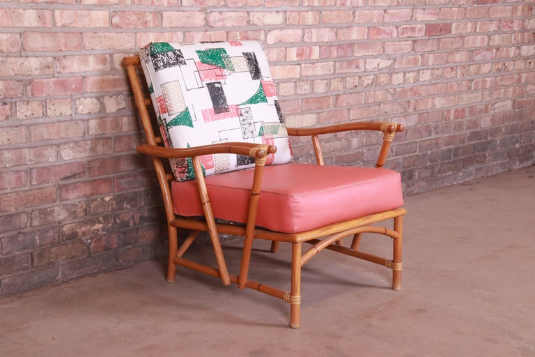 Mid-20th Century Heywood Wakefield Ashcraft Hollywood Regency Bamboo Form Lounge Chair, 1950s For Sale