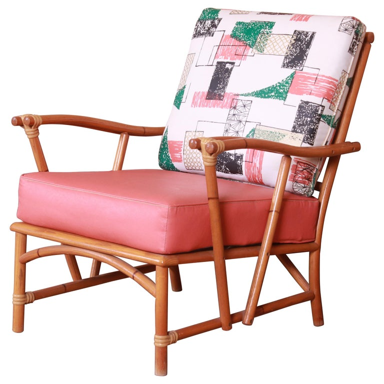 Heywood Wakefield Ashcraft Hollywood Regency Bamboo Form Lounge Chair, 1950s For Sale