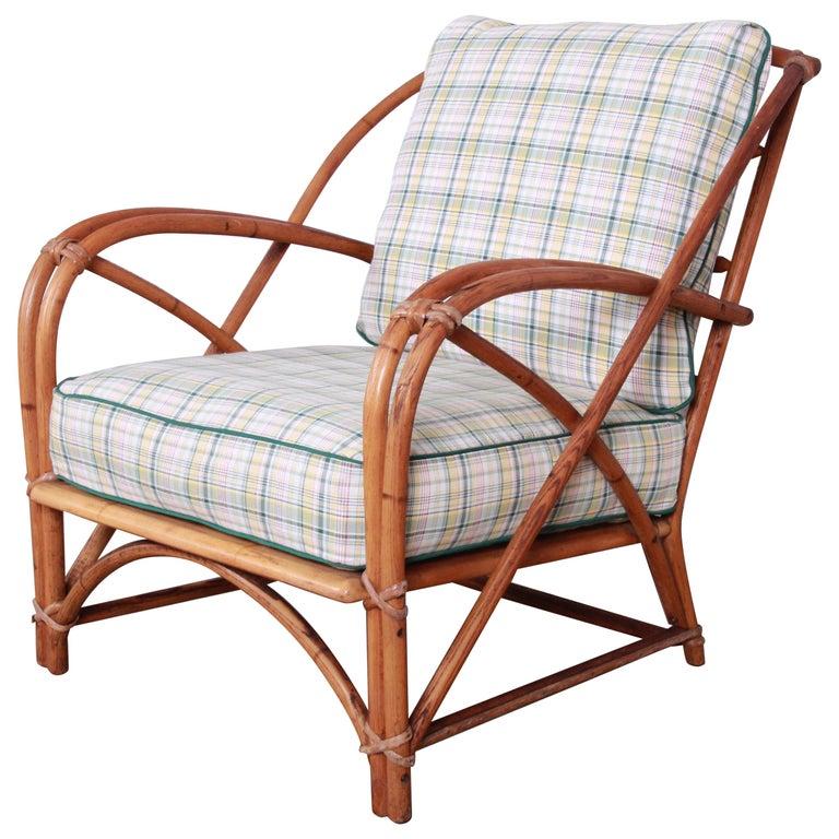 Heywood Wakefield Hollywood Regency Mid Century Modern Rattan Lounge Chair For Sale Stdibs