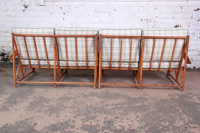 Heywood Wakefield Hollywood Regency Mid-Century Modern Rattan Sofa For Sale 5