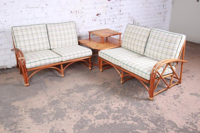 Heywood Wakefield Hollywood Regency Mid-Century Modern Rattan Sofa For Sale 6