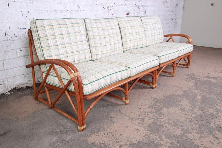 American Heywood Wakefield Hollywood Regency Mid-Century Modern Rattan Sofa For Sale