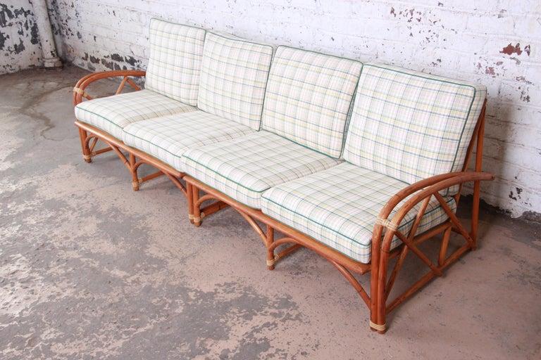 Mid-20th Century Heywood Wakefield Hollywood Regency Mid-Century Modern Rattan Sofa For Sale