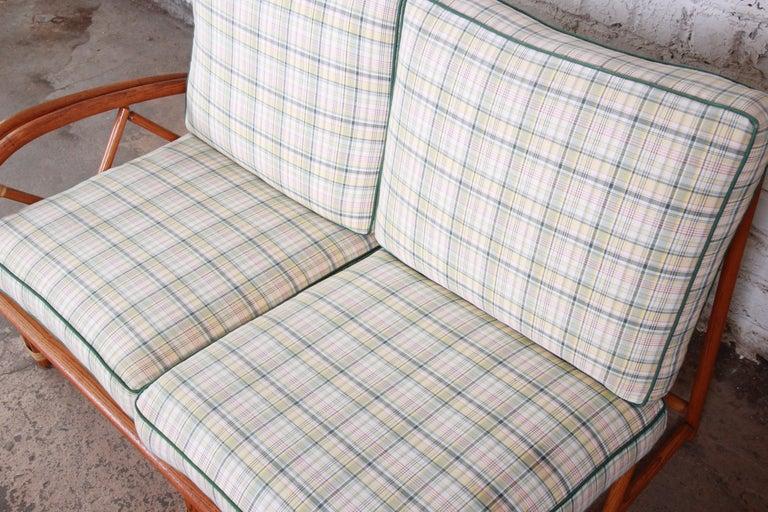 Upholstery Heywood Wakefield Hollywood Regency Mid-Century Modern Rattan Sofa For Sale