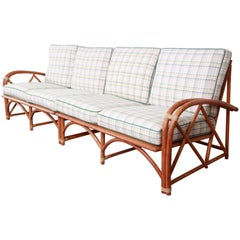Heywood Wakefield Hollywood Regency Mid-Century Modern Rattan Sofa