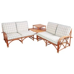 Heywood Wakefield Hollywood Regency Rattan Sectional Sofa and End Table Set