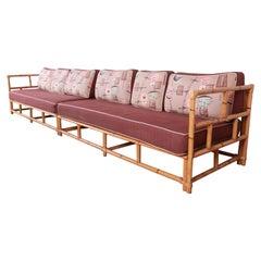 Heywood Wakefield Mid-Century Hollywood Regency Bamboo Two Piece Sectional Sofa