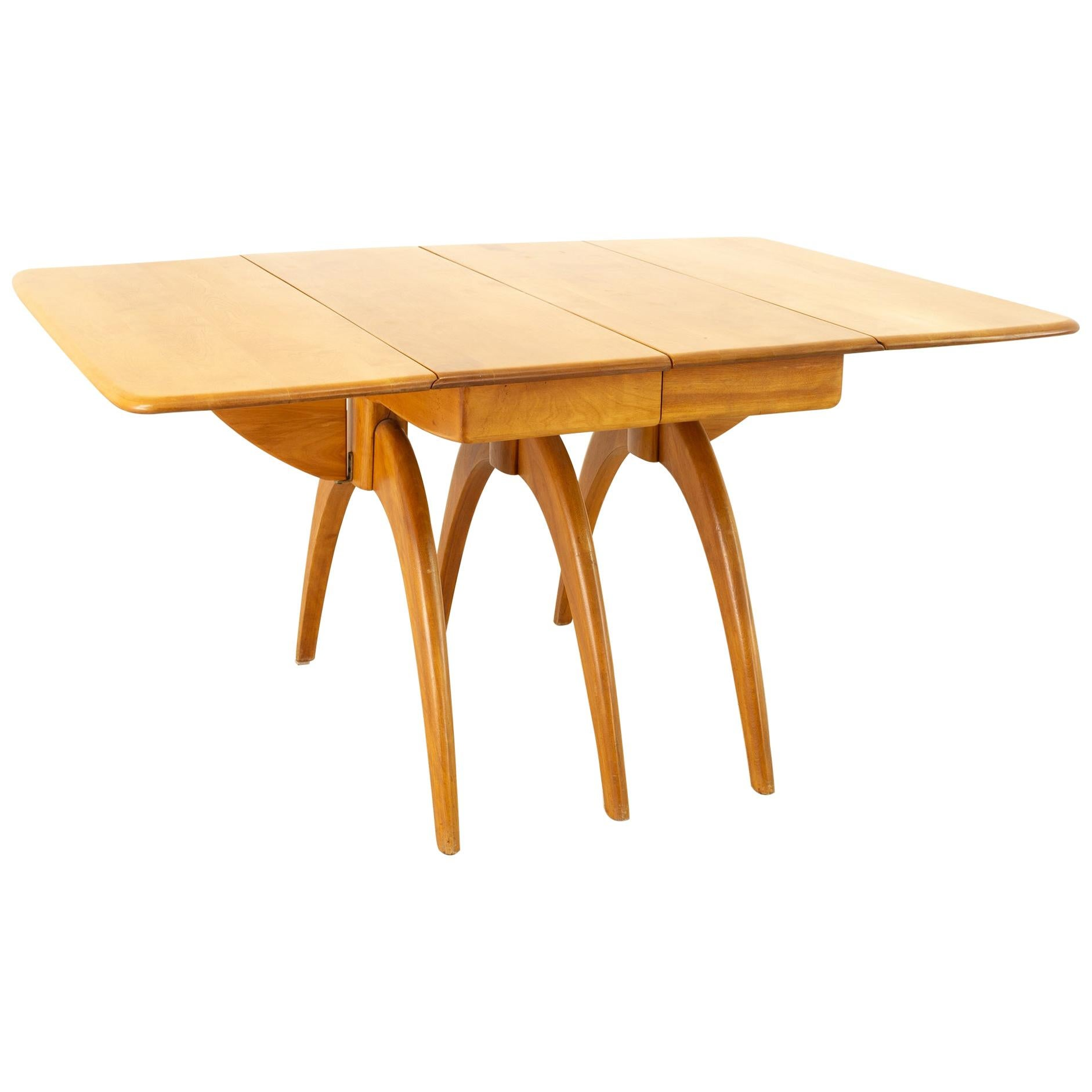 Heywood Wakefield Mid Century Maple Wishbone Expanding Dining Table