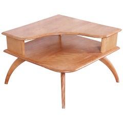 Heywood Wakefield Mid-Century Modern Solid Maple Corner End Table, 1950s