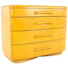 Heywood Wakefield Midcentury Blonde Solid Wood 4-Drawer Lowboy Dresser