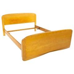 Heywood Wakefield Midcentury Blonde Solid Wood Queen Headboard and Footboard