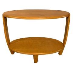 Heywood Wakefield Oval Tiered Birch Side Table