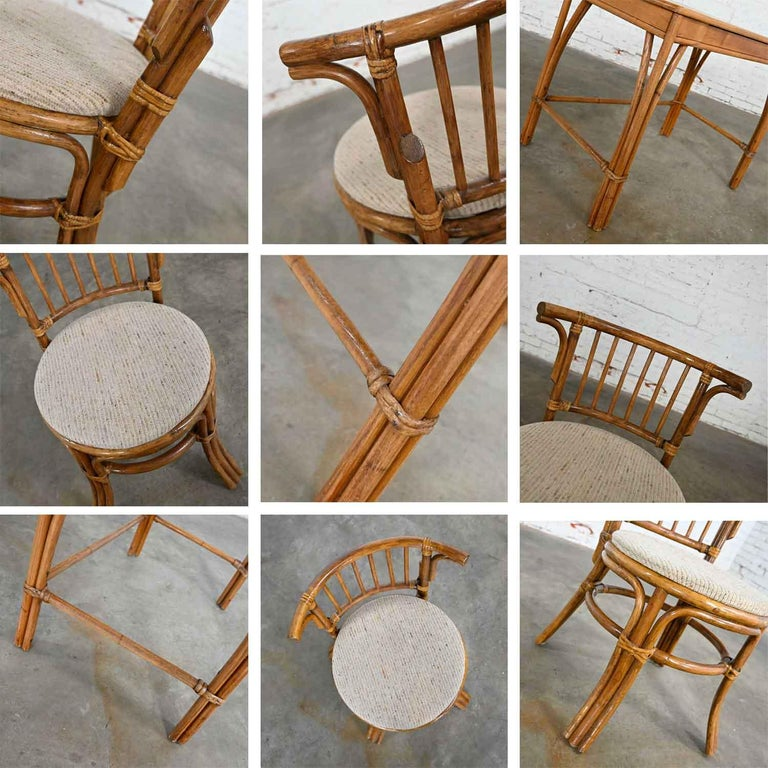Heywood Wakefield Rattan & Maple Writing Desk & Low Back Chair by Sovereign Furn For Sale 4