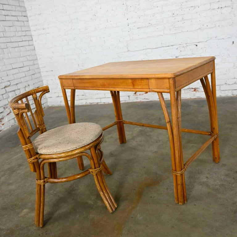 Mid-Century Modern Heywood Wakefield Rattan & Maple Writing Desk & Low Back Chair by Sovereign Furn For Sale