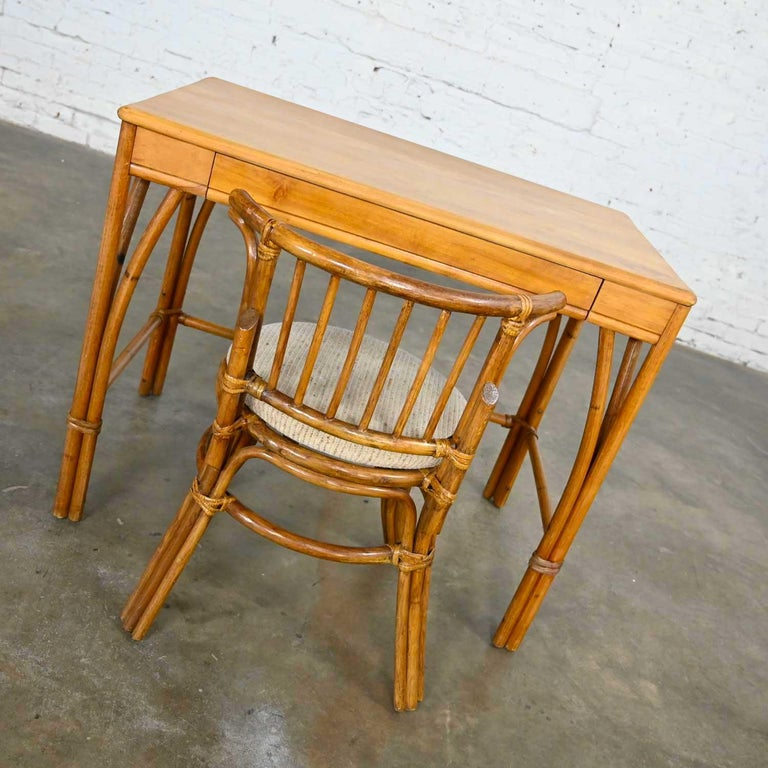 American Heywood Wakefield Rattan & Maple Writing Desk & Low Back Chair by Sovereign Furn For Sale