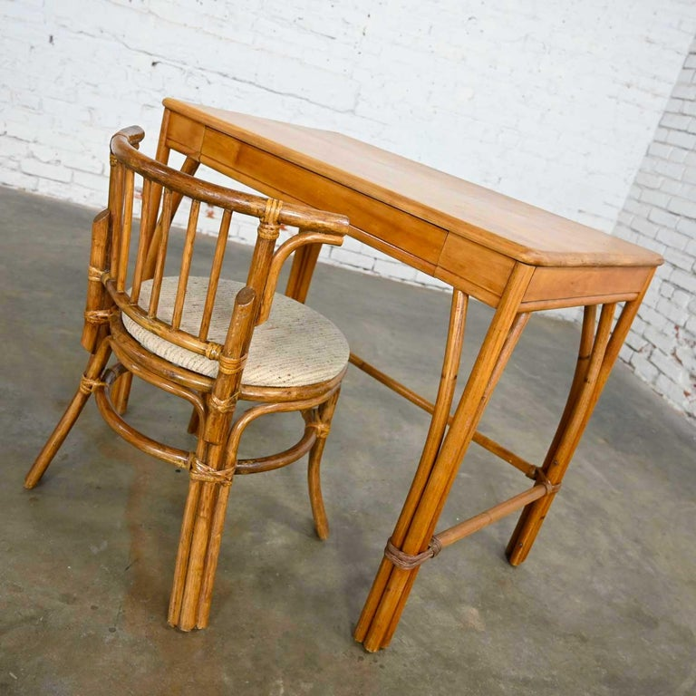20th Century Heywood Wakefield Rattan & Maple Writing Desk & Low Back Chair by Sovereign Furn For Sale