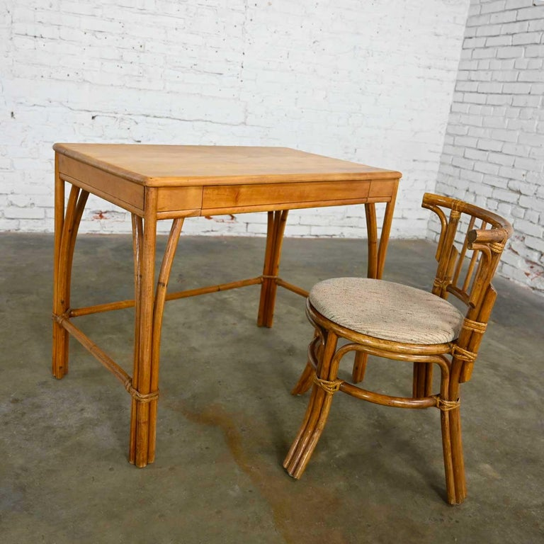 Fabric Heywood Wakefield Rattan & Maple Writing Desk & Low Back Chair by Sovereign Furn For Sale