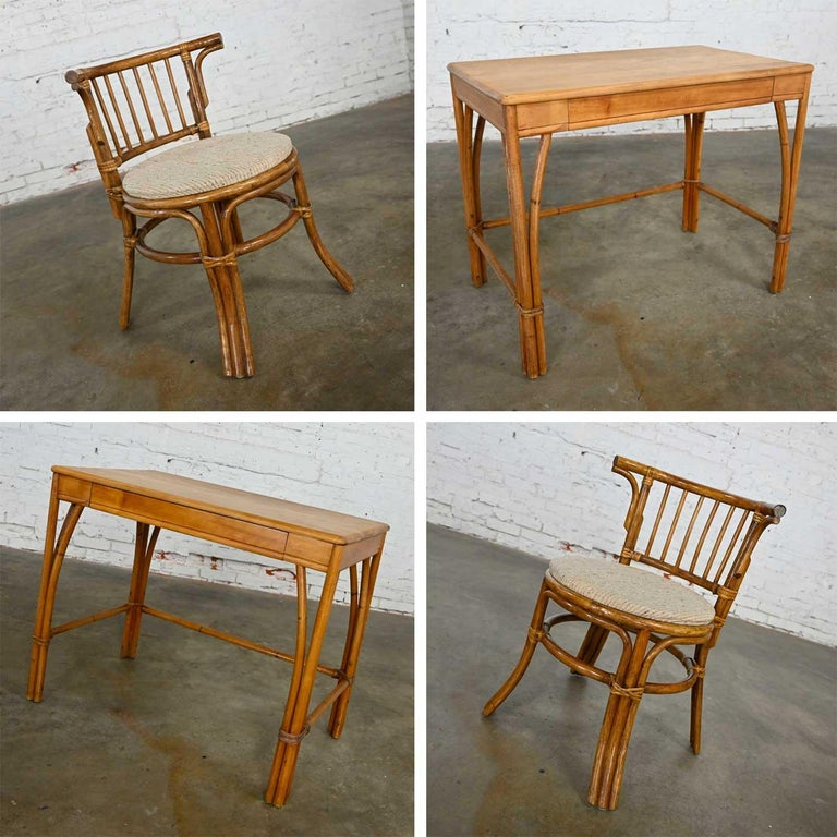 Heywood Wakefield Rattan & Maple Writing Desk & Low Back Chair by Sovereign Furn For Sale 2