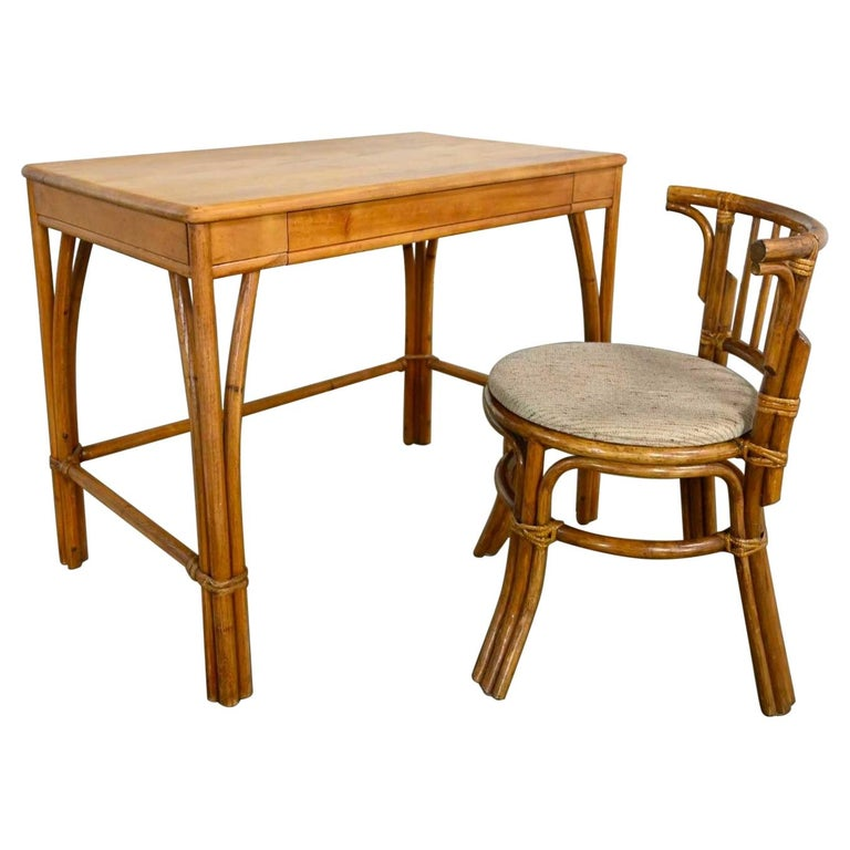 Heywood Wakefield Rattan & Maple Writing Desk & Low Back Chair by Sovereign Furn For Sale