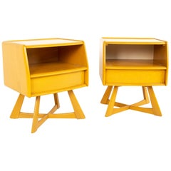 Heywood Wakefield Sculptura Mid Century Wheat Nightstands, Pair