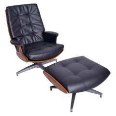 Heywood Wakefield Teak & Faux Leather Lounge Chair & Ottoman 710D Danish Modern