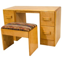 Heywood Wakefield Vanity and Bench or Child's Desk, C3574 and C3577