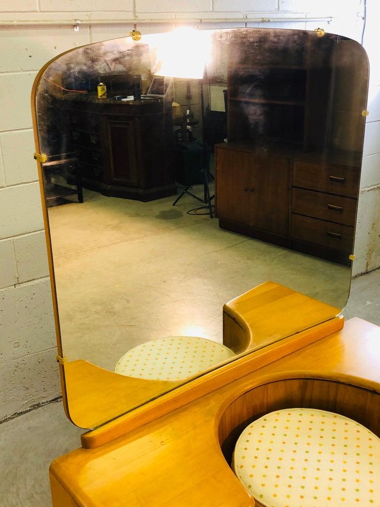 Heywood Wakefield Vanity and Mirror with Stool Set 1