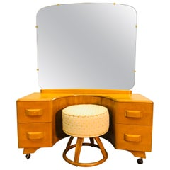 Heywood Wakefield Vanity and Mirror with Stool Set